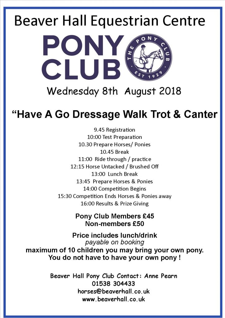 Pony Club Have A Go Dressage Day