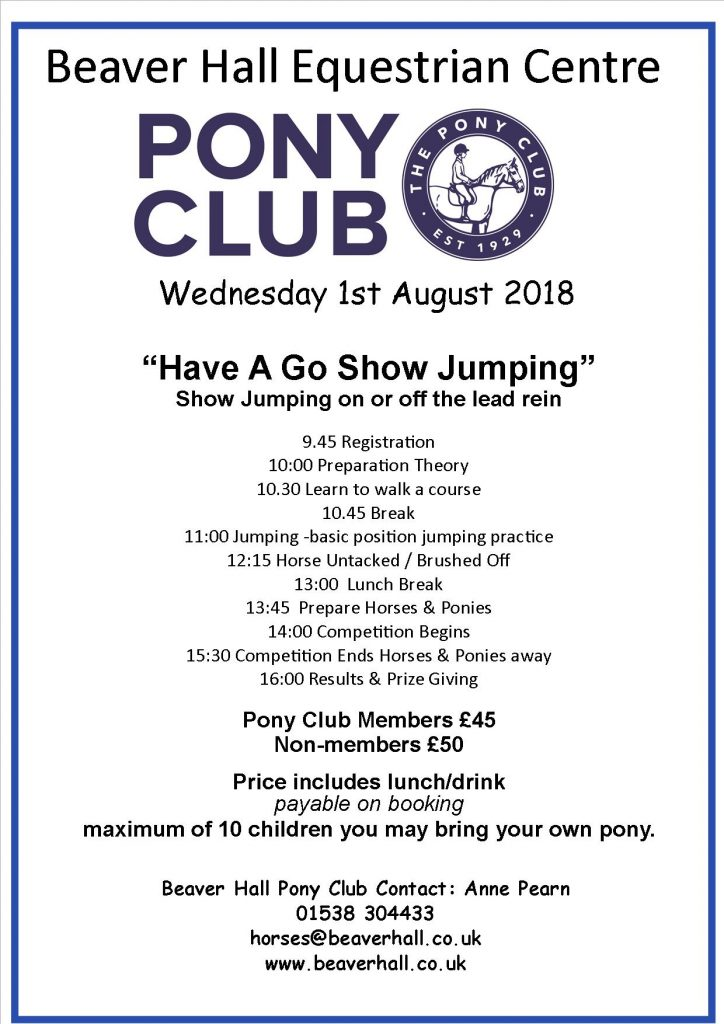 Pony Club Have A Go Show Jumping Day